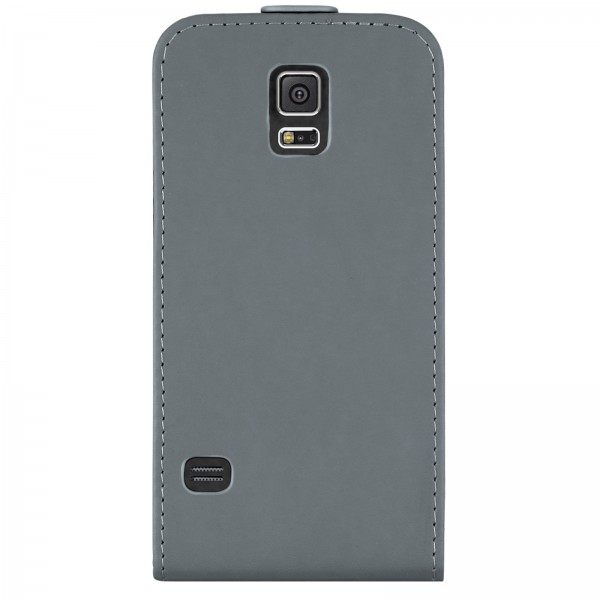 Mobilefox Handy Tasche Schutz Hülle Flip Etui für Samsung Galaxy S5 Grau