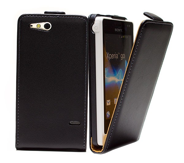 Handy Tasche Schutz Hülle Flip Case Etui Cover für Sony Xperia go St27i Schwarz