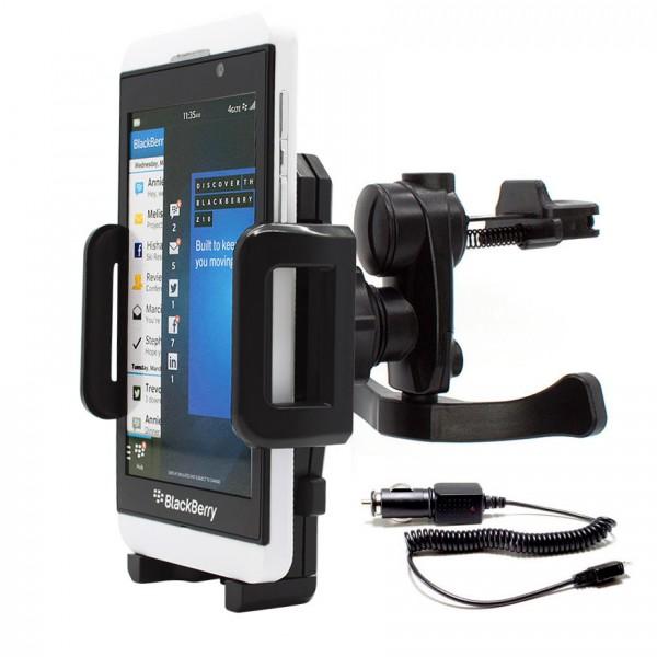 360° BlackBerry Z10 KFZ Lüftungs Gitter Halter Halterung PKW Auto + Ladekabel