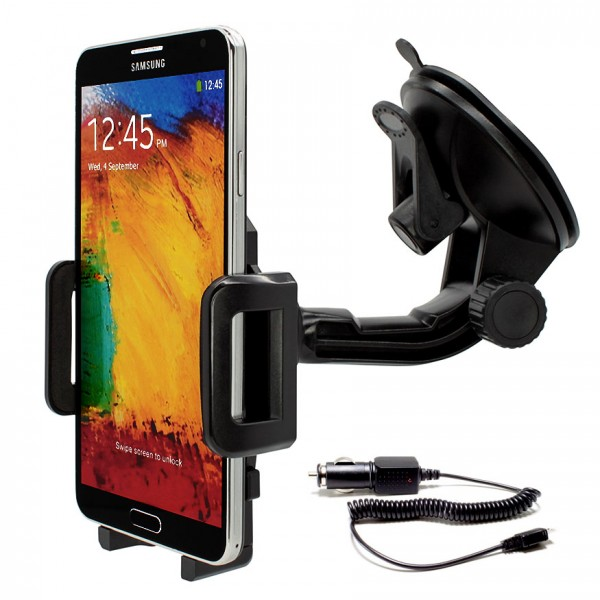 360° Universal Auto KFZ-Halterung Saugnapf inkl. Ladekabel Samsung Galaxy Note 3