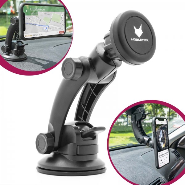 Mobilefox 360° KFZ Halterung Magnet Armaturenbrett Halter Drehbar Schwenkbar Saugnapfhalter Smartpho