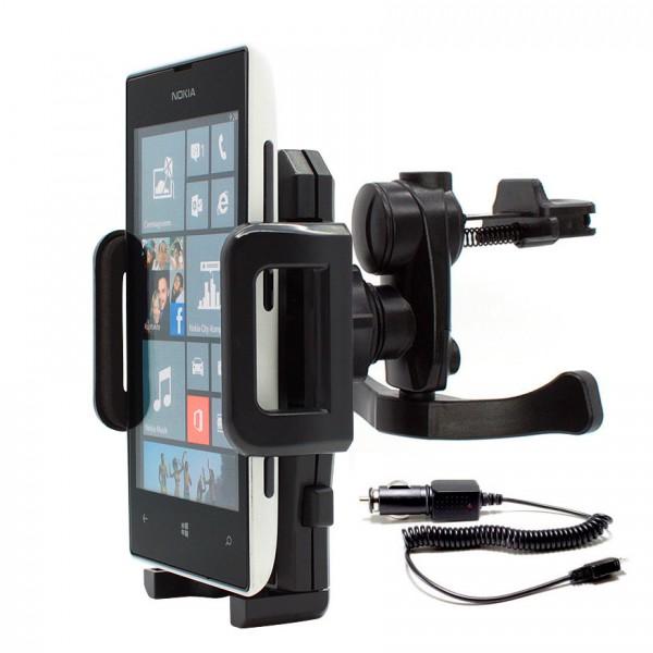 360° Nokia Lumia 520 KFZ Lüftungs Gitter Halter Halterung PKW Auto + Ladekabel