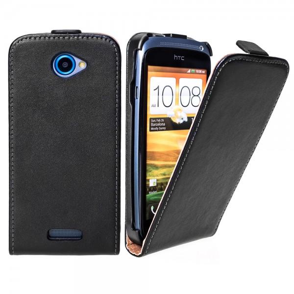 Handy Tasche Schutz Hülle Flip Case Etui Cover Schale für HTC ONE S Schwarz
