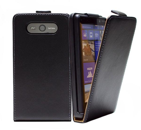 Handy Tasche Schutz Hülle Flip Case Etui Cover für Nokia Lumia 820 Schwarz
