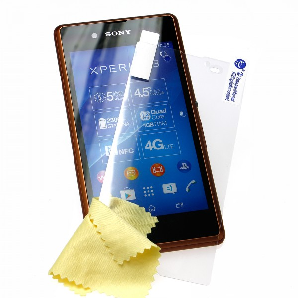 Mobilefox Ultraclear Displayschutzfolie Reinigungstuch Sony Xperia E3 transparent 3 Stück