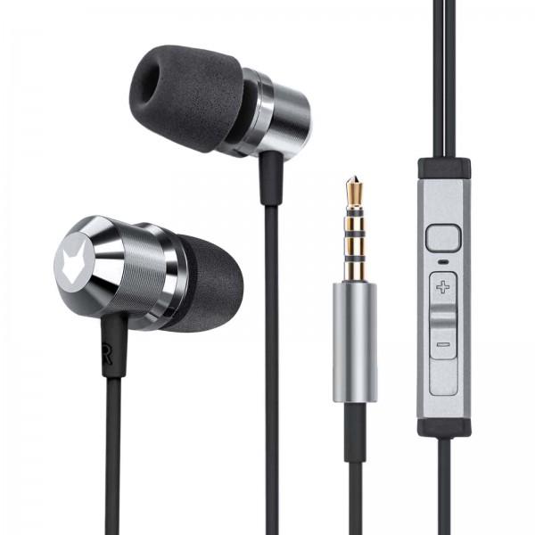 Mobilefox In-Ear Kopfhörer Headset Magnet Sport Design Memory Foam Ohrhörer Mikrofon Anthrazit