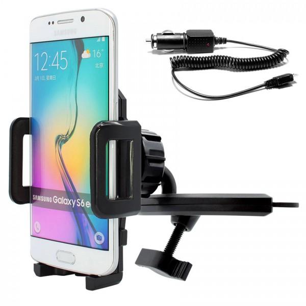 360° KFZ CD Schlitz Schacht Halterung Auto Ladekabel Samsung Galaxy S6 Edge