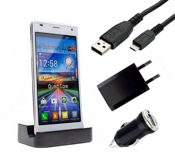LG Optimus 4X HD P880 Dockingstation Ladestation Ladegerät Tisch Ladekabel USB