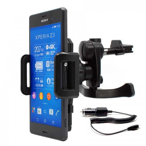 360° Sony Xperia Z3 D6603 KFZ Lüftungs Gitter Halter Halterung PKW + Ladekabel