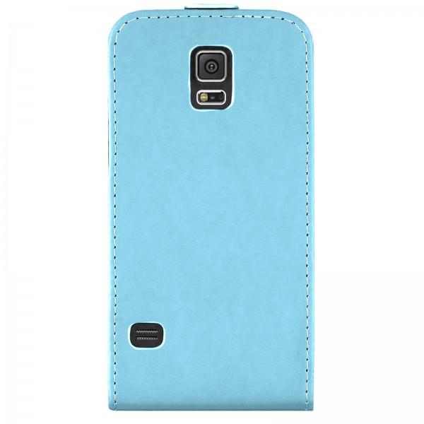 Mobilefox Handy Tasche Schutz Hülle Flip Etui für Samsung Galaxy S5 Hellblau