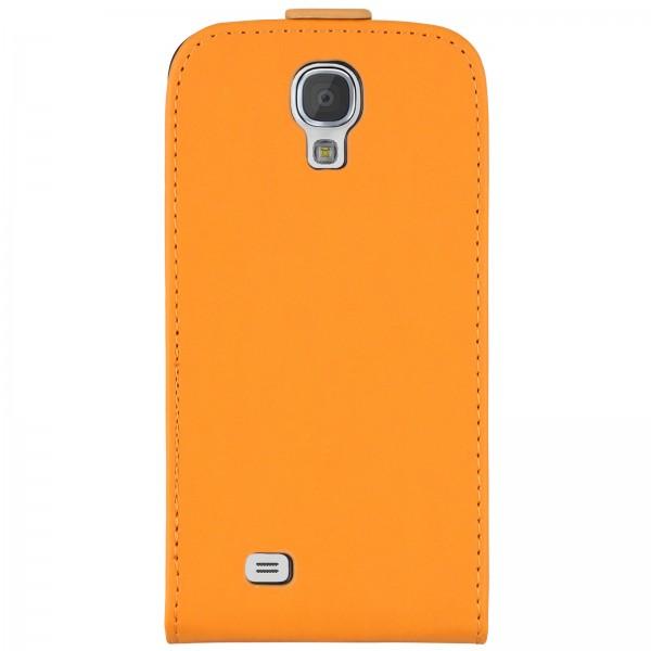 Mobilefox Handy Tasche Schutz Hülle Flip Etui für Samsung Galaxy S4 Orange