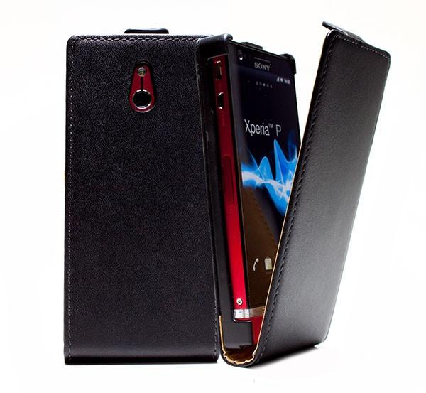 Handy Tasche Schutz Hülle Flip Case Etui Cover für Sony Xperia P LT22i Schwarz