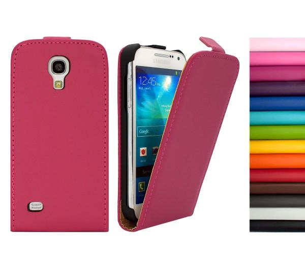 Mobilefox Handy Tasche Schutz Hülle Flip Etui für Samsung Galaxy S4 mini Orange