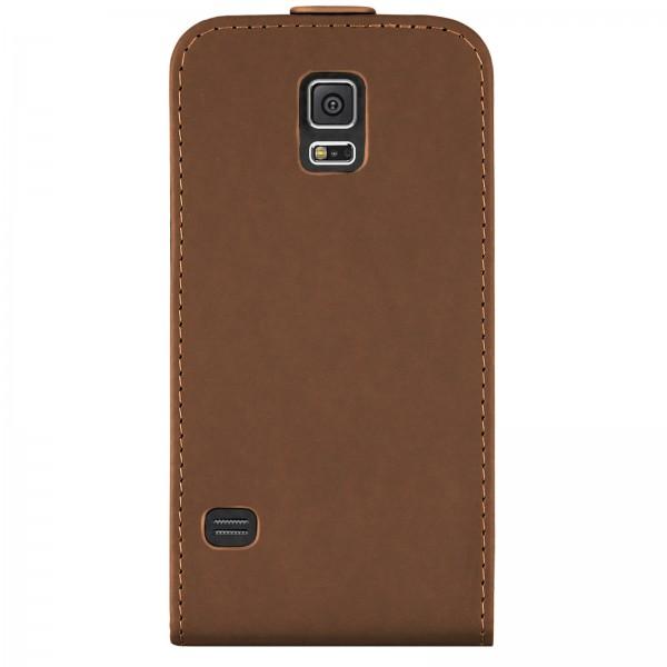 Mobilefox Handy Tasche Schutz Hülle Flip Etui für Samsung Galaxy S5 Braun