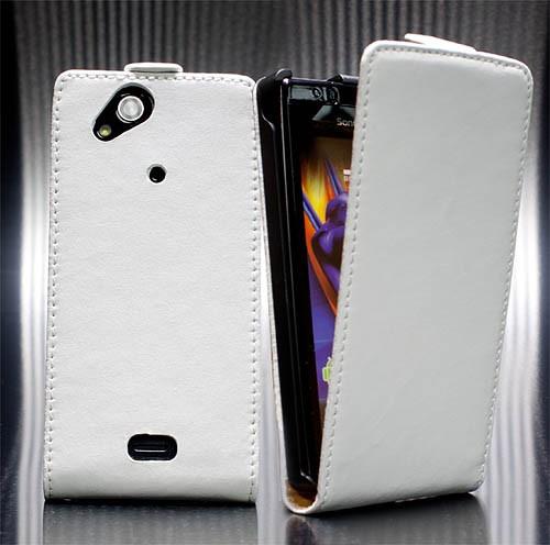 Handy Tasche Schutz Hülle Flip Case Etui für Sony Ericsson Xperia ARC/S/X12 Weiß
