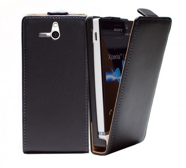 Handy Tasche Schutz Hülle Flip Case Etui Cover für Sony Xperia U ST25i Schwarz