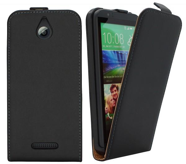 Handy Tasche Schutz Hülle Flip Case Etui Cover Schale für HTC Desire 510 Schwarz