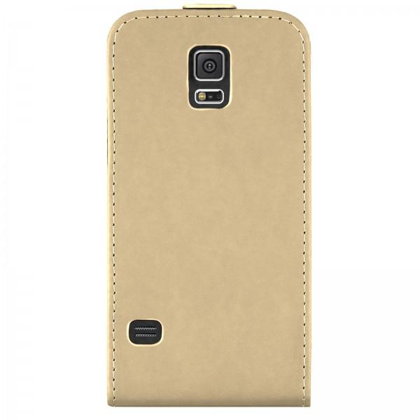 Mobilefox Handy Tasche Schutz Hülle Flip Etui für Samsung Galaxy S5 Beige