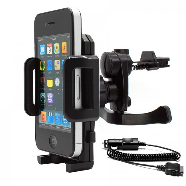 Mobilefox KFZ Lüftungs Gitter Halter Halterung PKW +Ladekabel Apple iPhone 4/4S 360°