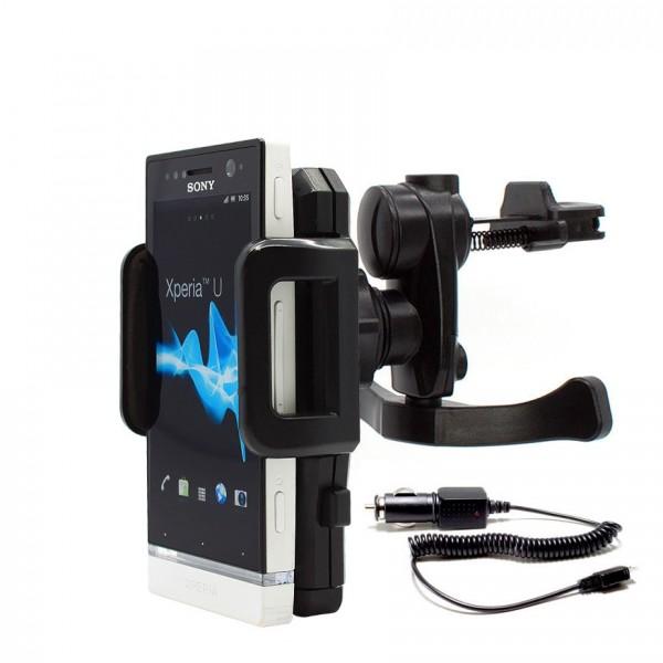 360° Sony Xperia U St25i KFZ Lüftungs Gitter Halter Halterung PKW + Ladekabel