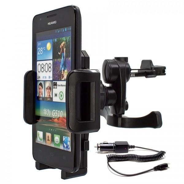 Mobilefox Lüftungs Halterung KFZ LKW Huawei Ascend G510/Y300/P6/Y530/G700 360°
