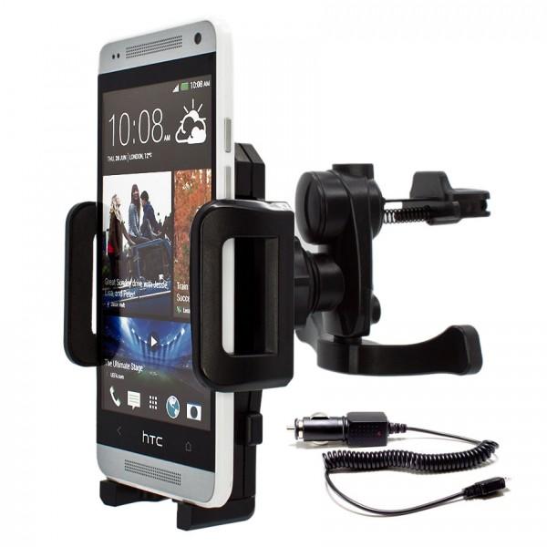 Mobilefox Lüftungs Halterung KFZ Halter Handy + Kabel HTC One/S/X/Mini/XL/MAX/M8 360°