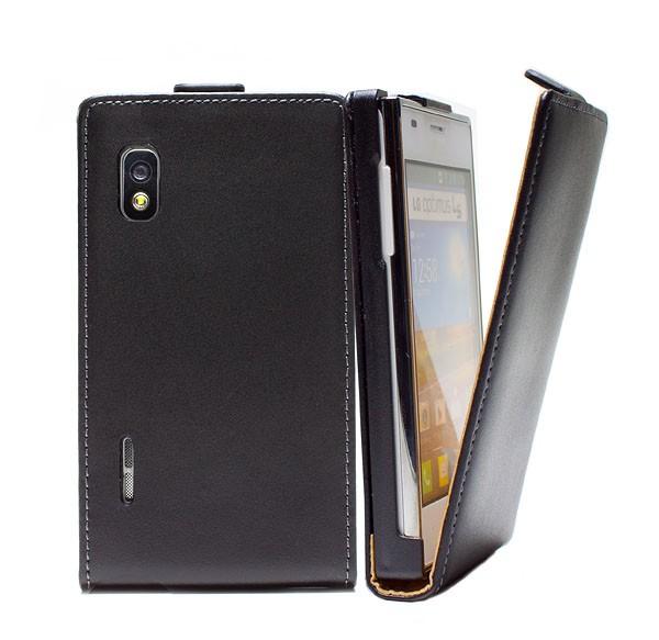 Handy Tasche Schutz Hülle Flip Case Etui Cover für LG Optimus L5 E610 Schwarz