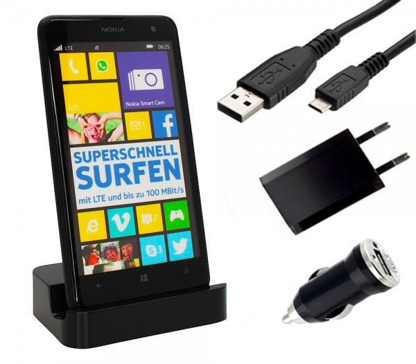 Nokia Lumia 625 Dockingstation Ladestation Ladegerät Ladekabel Tischladestation