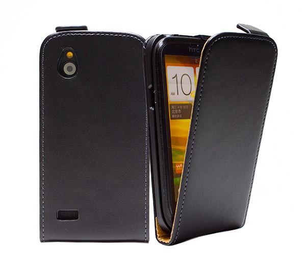 Handy Tasche Schutz Hülle Flip Case Etui Cover Schale für HTC Desire X Schwarz