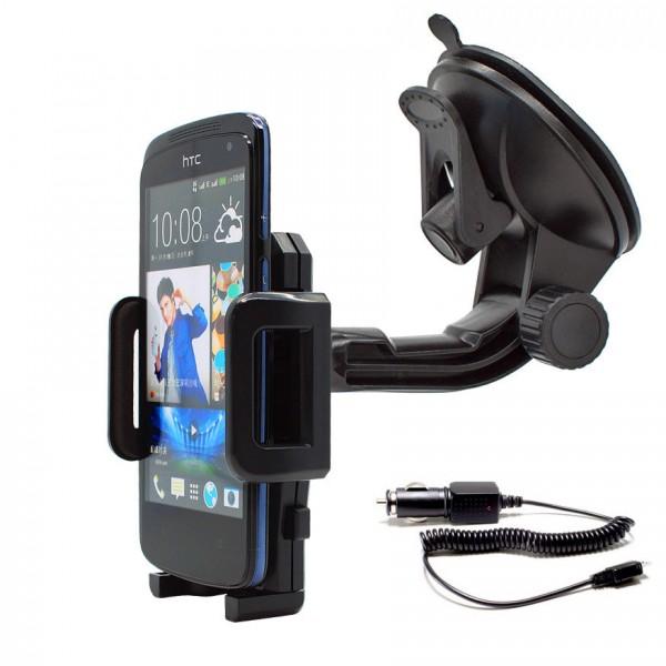 360° Universal Auto KFZ-Halterung LKW Saugnapf inkl. Ladekabel HTC Desire 500