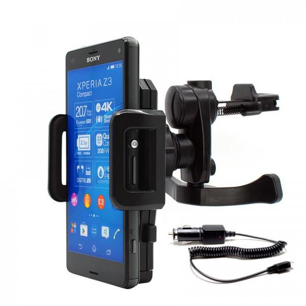 360° Sony Xperia Z3 compact D5803 KFZ Lüftungs Gitter Halter Halterung PKW+Kabel