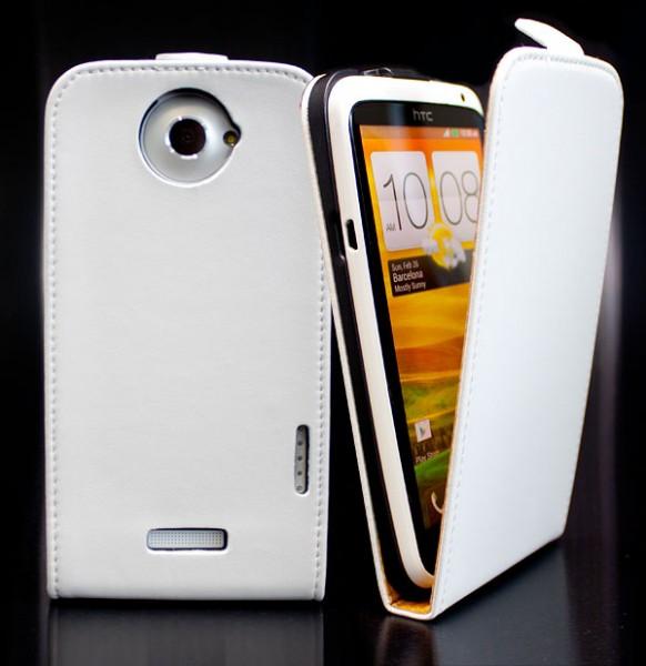 Handy Tasche Schutz Hülle Flip Case Etui Cover Schale für HTC ONE X/XL Weiß