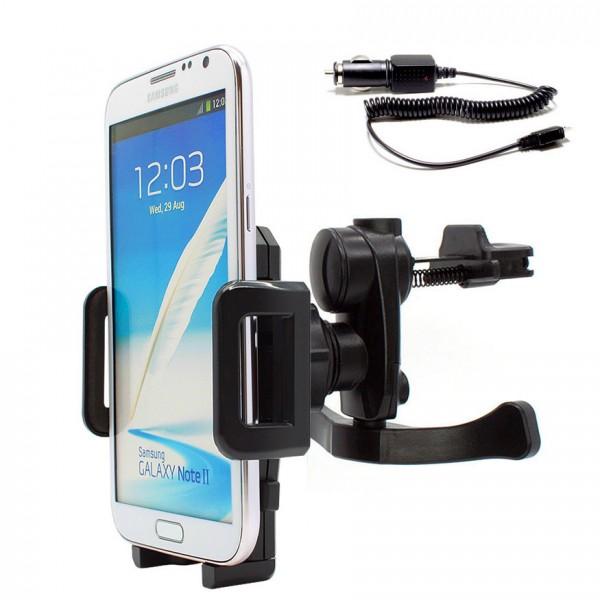 Mobilefox Lüftungs Halterung Auto KFZ Halter +Ladekabel Samsung Galaxy Note 2 GT-N7100 360°