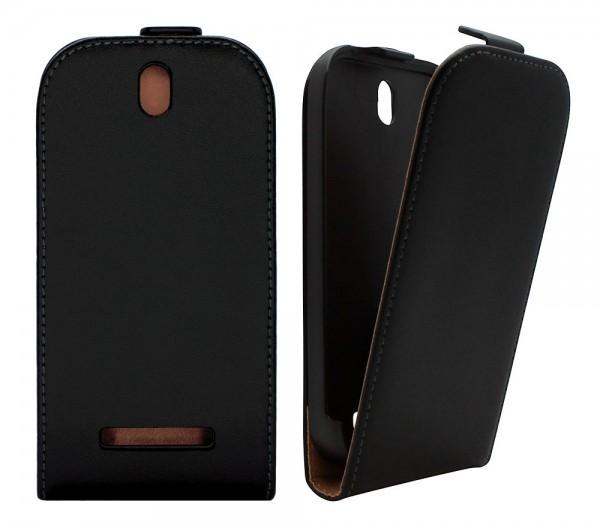 Handy Tasche Schutz Hülle Flip Case Etui Cover für HTC Desire SV T326e Schwarz