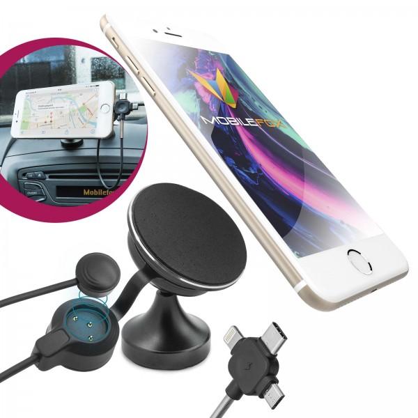 Mobilefox 3in1 KFZ SET Anti Gravity Auto Klebe Halterung + 3in1 Smartphone Ladekabel + Halter Reinig