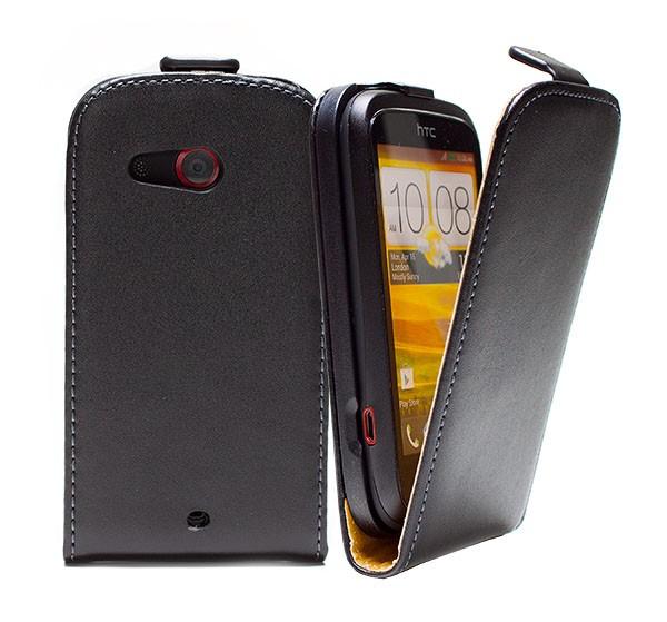 Handy Tasche Schutz Hülle Flip Case Etui Cover Schale für HTC Desire C Schwarz
