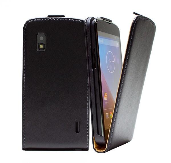 Handy Tasche Schutz Hülle Flip Case Etui Cover für LG Google Nexus 4 Schwarz