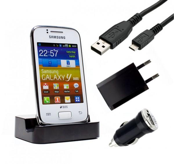 Samsung Galaxy Y Duos GT-S6102 Dockingstation Ladestation Ladegerät Ladekabel
