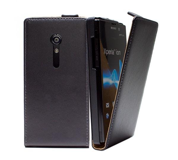 Handy Tasche Schutz Hülle Flip Case Etui Cover für Sony Xperia ion Lt28i Schwarz
