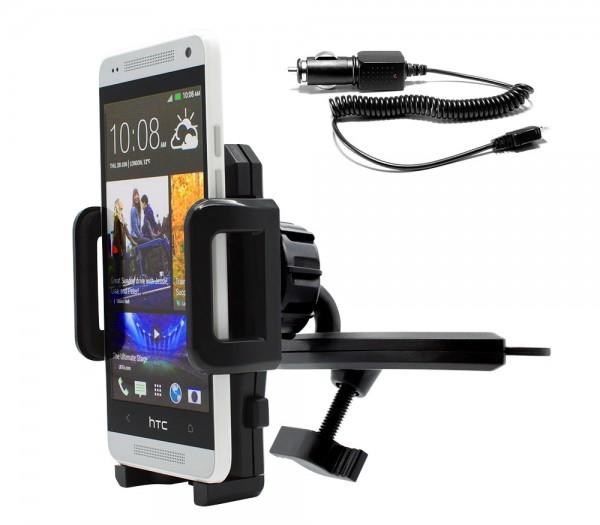360° KFZ CD Schlitz Schacht Halterung Auto Halter Ladekabel HTC One Mini (M4)