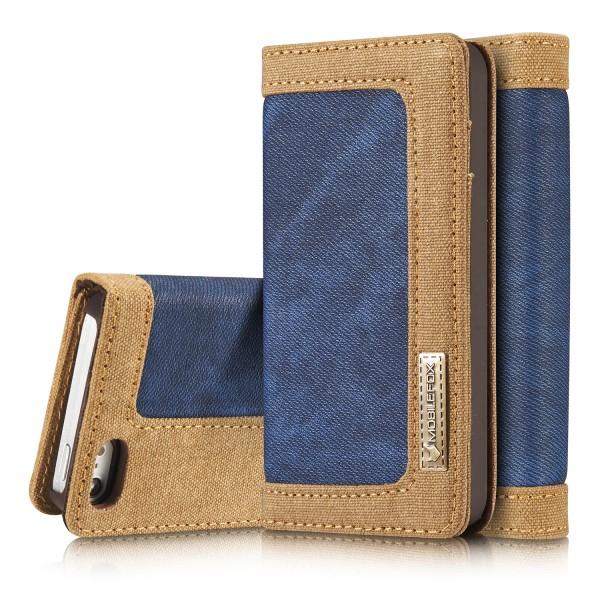 Mobilefox Jeans Handy Schutz-Hülle Tasche Cover Case Geldbeutel Etui Wallet