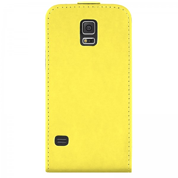 Mobilefox Handy Tasche Schutz Hülle Flip Etui für Samsung Galaxy S5 Gelb
