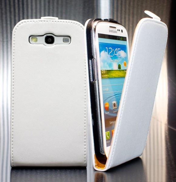 Samsung Galaxy S3 GT-I9300 Tasche Weiss Schutz Hülle Case Etui Cover Flip +Folie