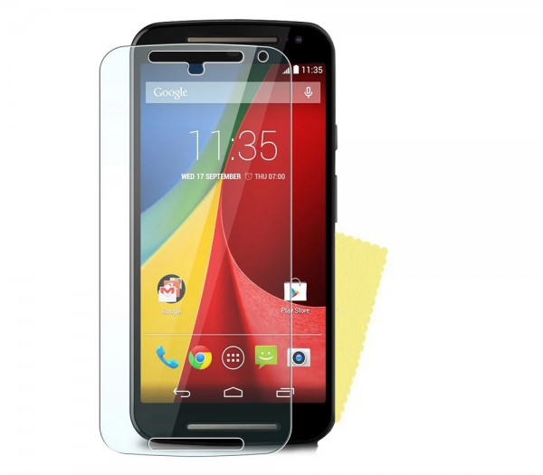 3x DISPLAY HANDY SCHUTZ FOLIE Motorola Moto G 2.Generation Screen Protector+Tuch