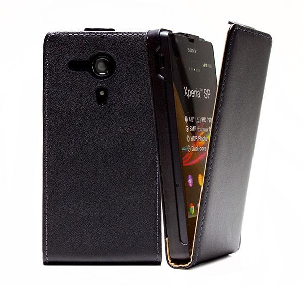 Handy Tasche Schutz Hülle Flip Case Etui Cover für Sony Xperia SP M35h Schwarz