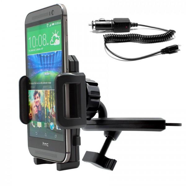 360°KFZ CD-Schlitz-Halterung Schacht Auto Ladekabel HTC One/Mini/Max/X/XL/Desire