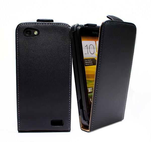 Handy Tasche Schutz Hülle Flip Case Etui Cover Schale für HTC ONE V Schwarz