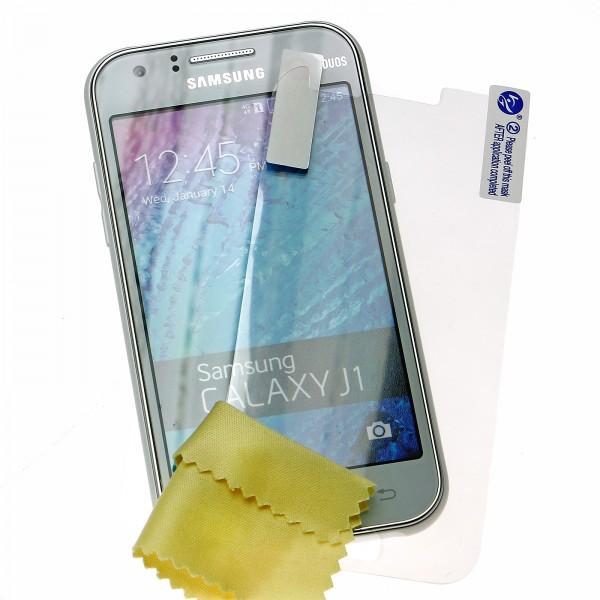 Mobilefox Ultraclear 3x Displayschutz-Folie + Reinigungstuch Samsung Galaxy J1 SM-J100