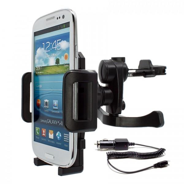 360° Universal Auto Lüftungs Halterung Halter inkl. Ladekabel Samsung Galaxy S3